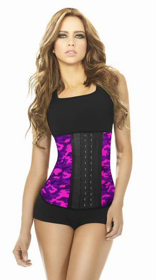 Camouflage Print 3 Hook Latex Waist Cincher