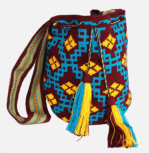 Coffee and Blue Big Wayuu Mochila