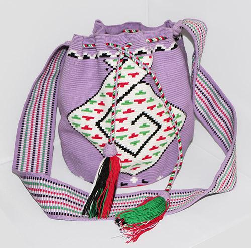 Purple and White Wayuu Mochila