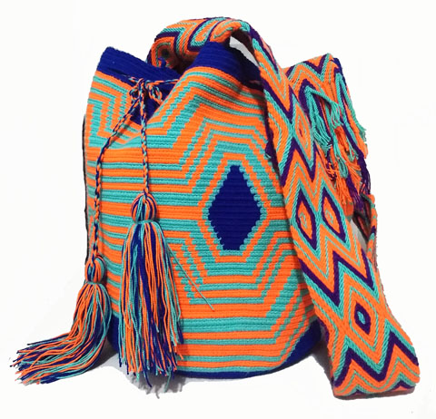 Orange and blue  Wayuu Mochila