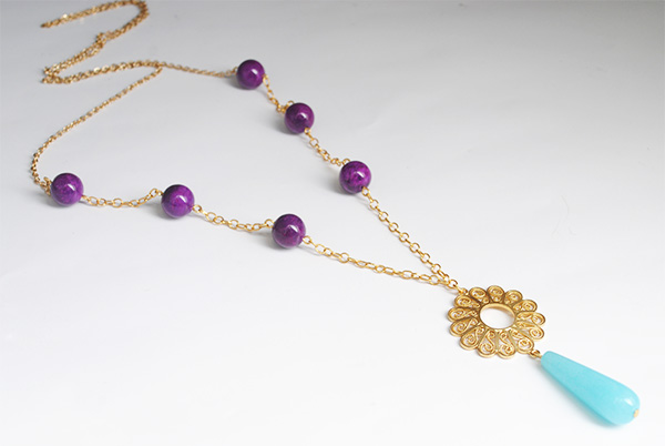 Filigree Necklace with natural stones