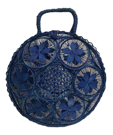 Purses and Handbags made in Iraca Palm - Blue Iraca Palm Panera Purse