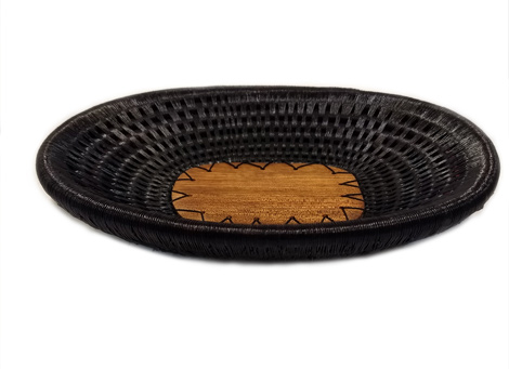 Wounaan Trays made in Wood and Fiber - Wood Oval Table tray color Black