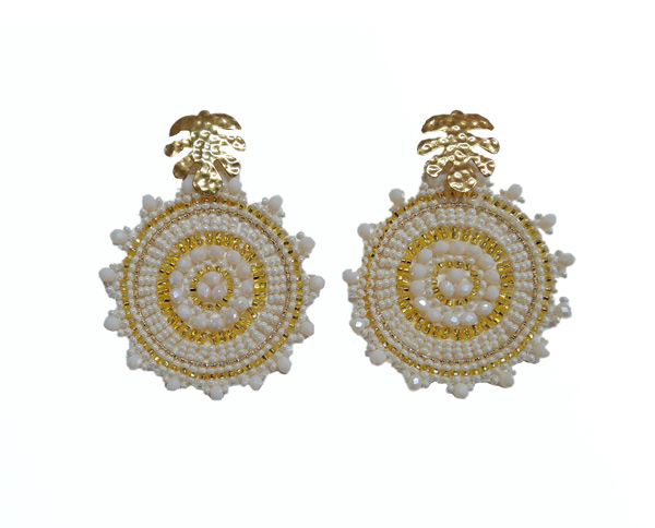 Colombian Fine Bijourie in stones - White Circle Earrings