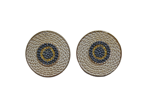 Colombian Fine Bijourie in stones - Blue Circle Earrings