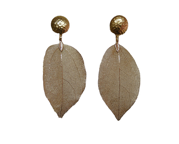 Colombian Fine Bijourie in stones - Gold color Leaf Earrings