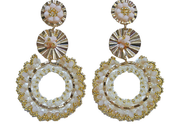 Colombian Fine Bijourie in stones - Gold color Mostacilla Earrings