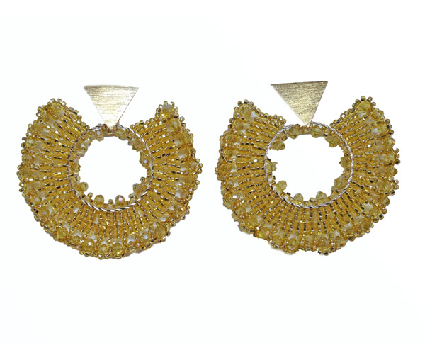 Colombian Fine Bijourie in stones - Yellow Semicircle Earrings