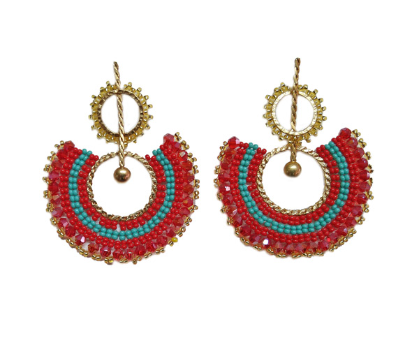 Colombian Fine Bijourie in stones - Red and blue Semicircle Earrings