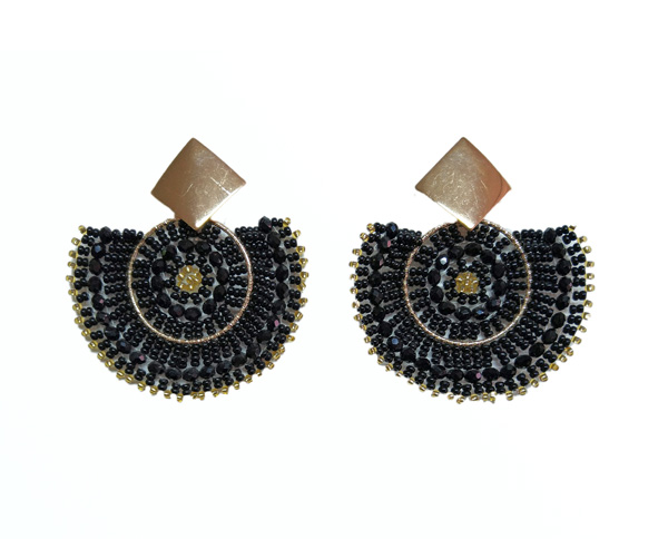 Colombian Fine Bijourie in stones - Black Semicircle Earrings