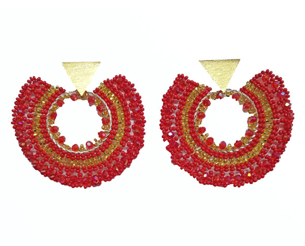 Colombian Fine Bijourie in stones - Red Semicircle Earrings