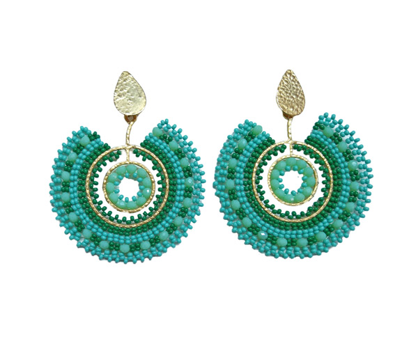 Colombian Fine Bijourie in stones - Semicircle Earrings