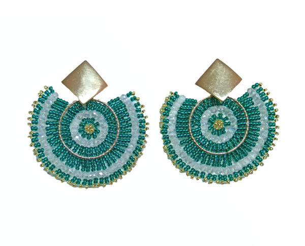 Colombian Fine Bijourie in stones - Green Semicircle Earrings
