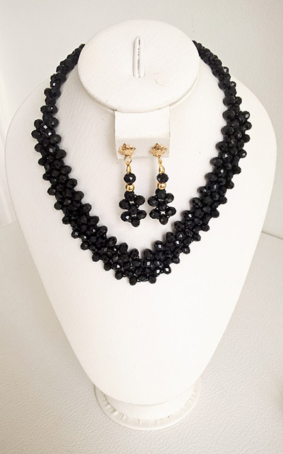 Colombian Fine Bijourie in stones - Black Murano Necklace