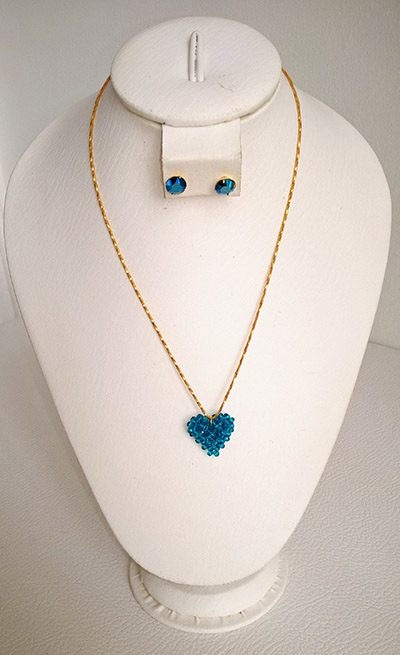 Colombian Fine Bijourie in stones - Blue heart Necklace