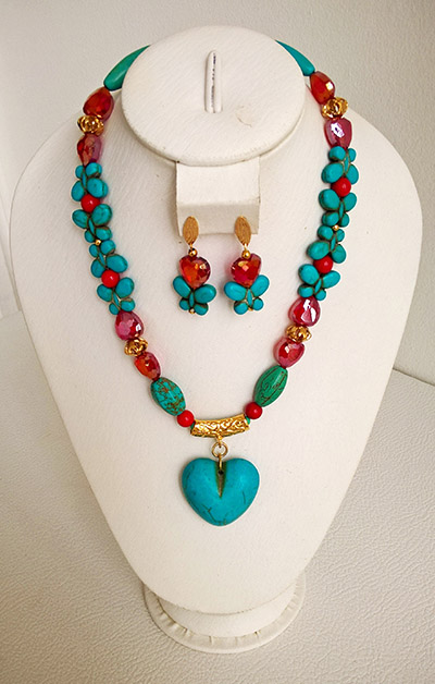 Colombian Fine Bijourie in stones - Butterflies Necklace