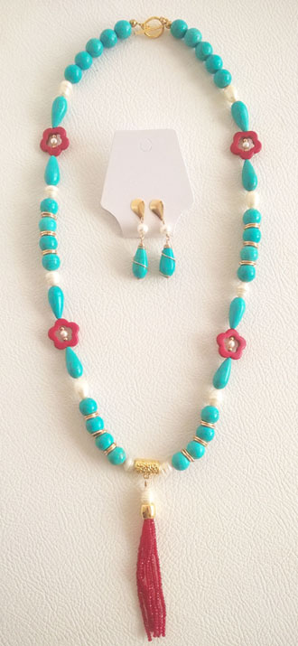 Colombian Fine Bijourie in stones - Long Turquoise Necklace