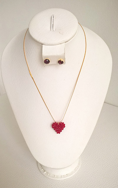Colombian Fine Bijourie in stones - Murano Heart Necklace