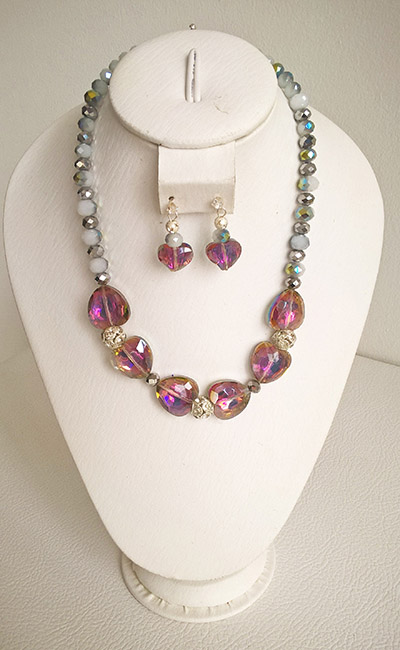 Colombian Fine Bijourie in stones - Necklace Crystal and Hearts