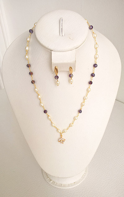 Colombian Fine Bijourie in stones - Necklace Pearl and Earrings