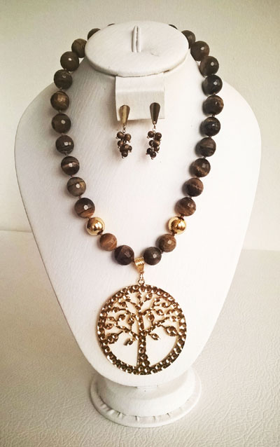 Colombian Fine Bijourie in stones - Tiger Eye Necklace