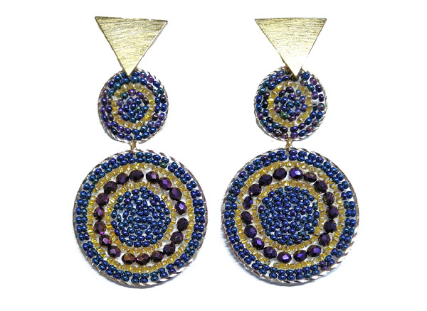 Colombian Fine Bijourie in stones - Blue Mostacilla Earrings