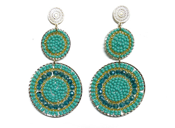Colombian Fine Bijourie in stones - Green Mostacilla Earrings