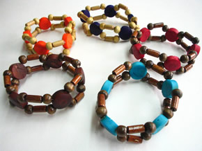 Bracelets and Accesories made with Tagua seeds - Tagua & Wood Necklace