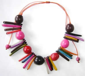 Exotic Bijouterie in Tagua and Bombona - Necklace in Bombona