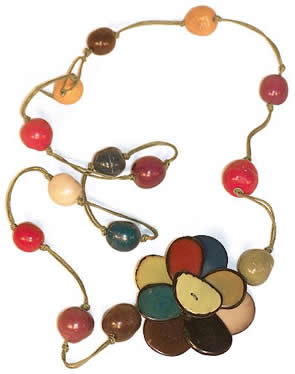 Exotic Bijouterie in Tagua and Bombona - Necklace in Tagua and Bombona