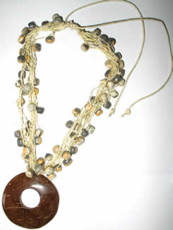 Necklaces in Tagua, Bombona and seeds - Crochet Necklace