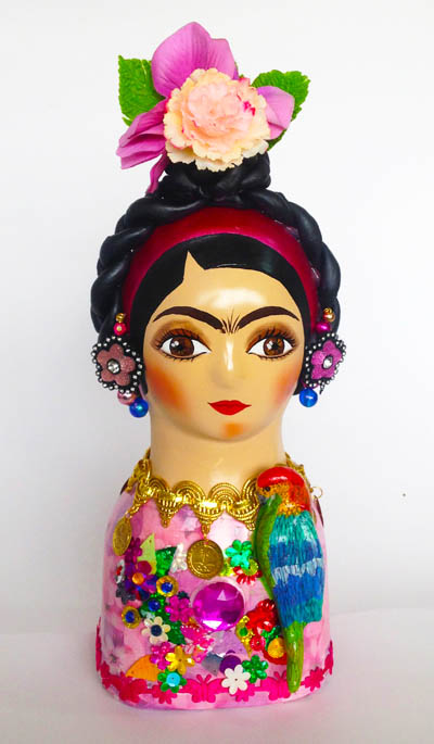 Colombian Handmade Ceramics and Figurines - Flower Frida Kahlo in Ceramic