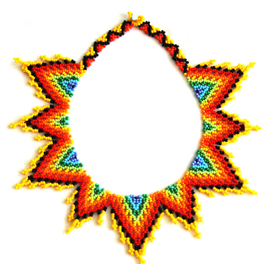 Embera Necklaces made with multicolor Chakiras - Star Chest Necklace with Chaquiras