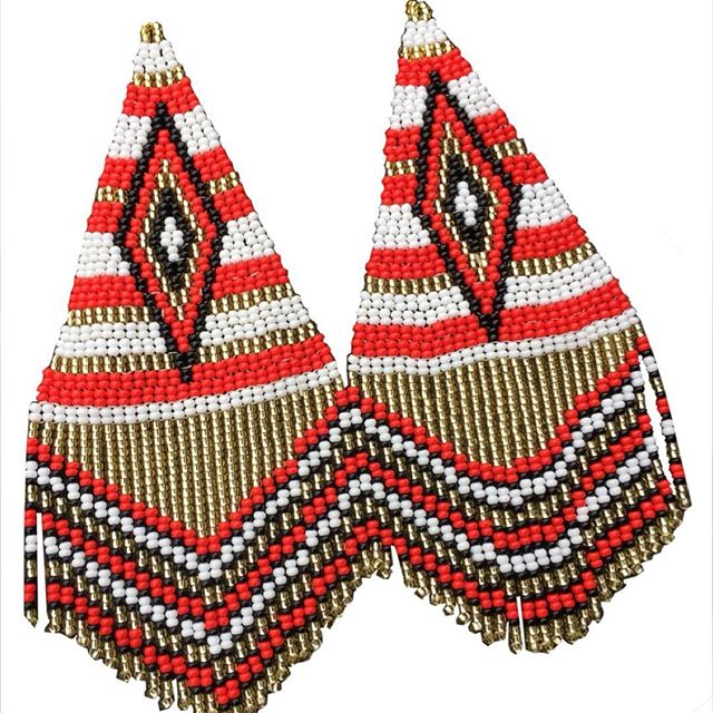 Embera Necklaces beaded with Chakiras - Triangle Embera earrings