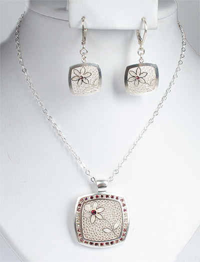 Colombian Silver Filigree - Filigree Mompox Necklace and earrings