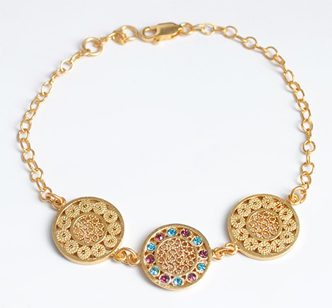 Colombian Silver Filigree - Gold coated Mompox Filigree Bracelet