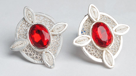 Colombian Silver Filigree - Mompox Filigree Earrings Red Stone