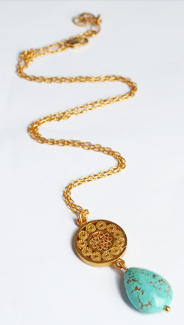 Colombian Silver Filigree - Mompox Filigree Gold coated Necklace