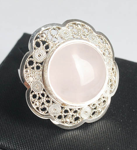 Colombian Silver Filigree - Mompox Filigree Ring and Quartz Stone