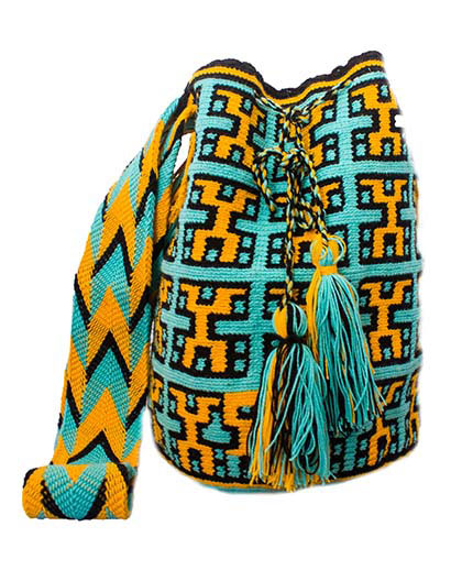 Colombian Wayuu Mochila Bags Online sale - Green and Yellow Wayuu Mochila Bag
