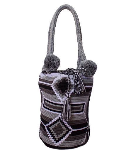 Colombian Wayuu Mochila Bags Online sale - Grey Wayuu Mochila Bag with coton balls