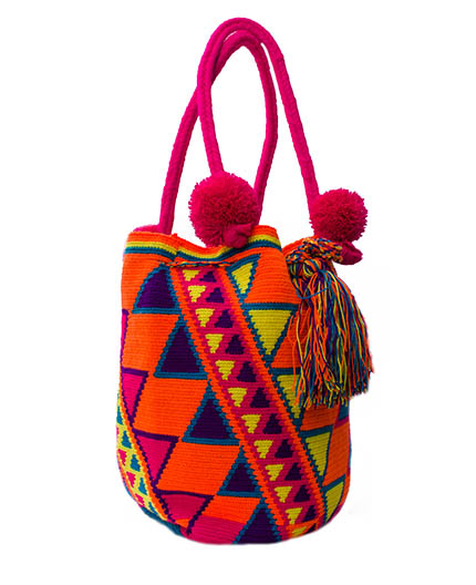 Colombian Wayuu Mochila Bags Online sale - Orange Wayuu Mochila Bag with coton balls