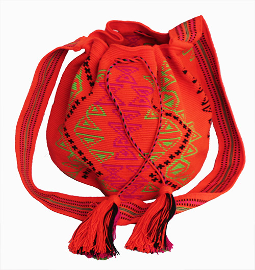 Colombian Wayuu Mochila Bags Online sale - Orange Big Wayuu Mochila
