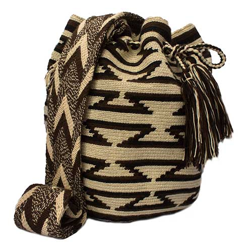 Colombian Wayuu Mochila Bags Online sale - Brown and Beige Wayuu Mochila Bag