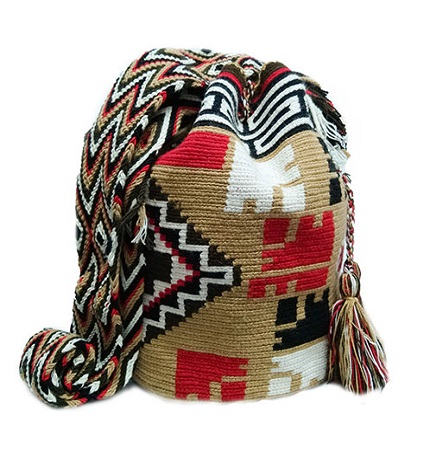 Colombian Wayuu Mochila Bags Online sale - Wayuu Mochila Bag in brown earth tones and red