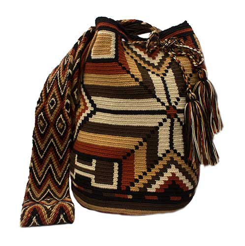 Colombian Wayuu Mochila Bags Online sale - Brown Wayuu Mochila Bag