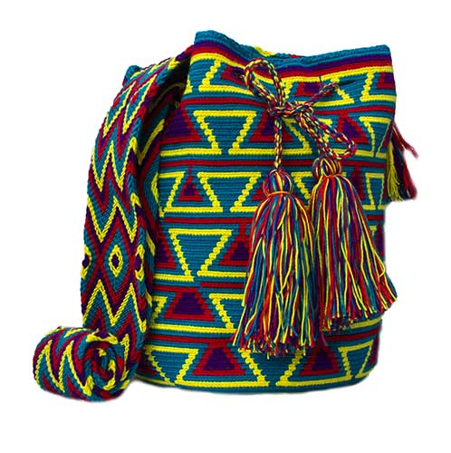 Colombian Wayuu Mochila Bags Online sale - Blue and Purple Wayuu Mochila Bag