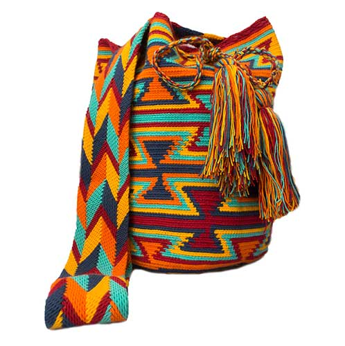 Colombian Wayuu Mochila Bags Online sale - Orange Blue Wayuu Mochila Bag
