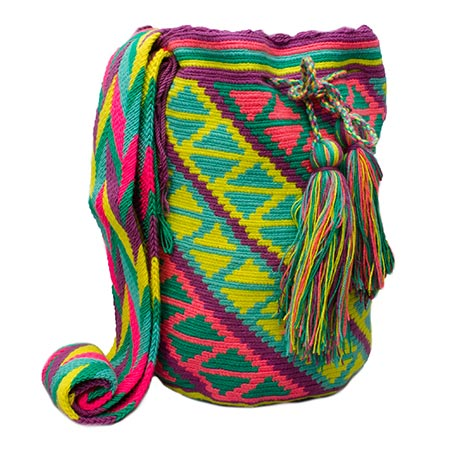 Colombian Wayuu Mochila Bags Online sale - Wayuu Mochila Bag in pastel colors