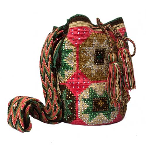 Colombian Wayuu Mochila Bags Online sale - Pink Wayuu Mochila Bag with Crystals
